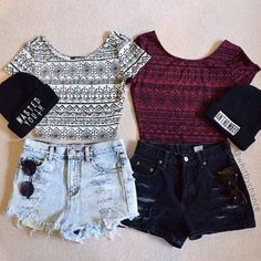 Grunge outfit idea nº23: White geometric/tribal inspired crop top, black shorts, black print beanie, and sunnies. Red geometric/tribal inspired crop top, black shorts, black print beanie, and sunnies - http://ninjacosmico.com/23-awesome-grunge-outfits/