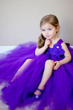 Flower Girl Tutu Dress in Purple Couture. $107.00, via Etsy.