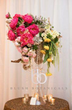 Blush Botanicals www.blushbotanicals.com unique centerpiece, rustic glam centerpiece