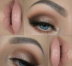 Gold to Dark Brown Smokey with Light Pink Lip