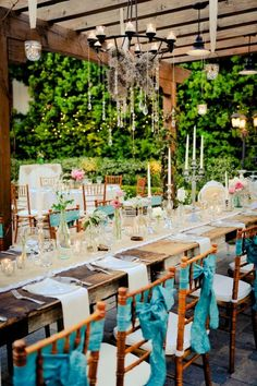 Turquoise wedding reception