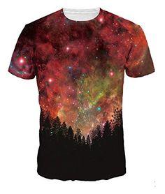 d74b1db859f394 Fashion Men Women Hip Hop T-shirt Summer Casual Tops Tees Digital Print  Night Trees Space Galaxy Tshirts Plus