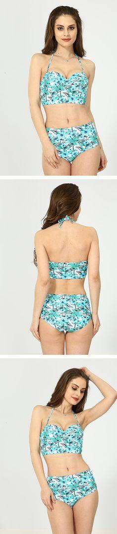 Green Floral High Waist Bikini Bikini For Women, Halter Bikini, Bikinis, Swimwear, High Waist, Floral, Green, Shopping, Fashion