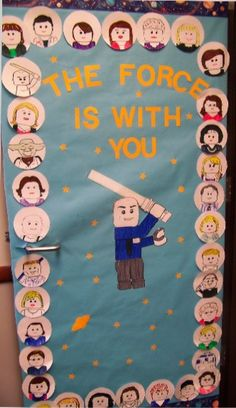 Maybe have the class make Lego people self portraits for the first day.  Star Wars Classroom Door Decorating Idea - Love it!