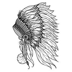 Buy Doodle Headdress For Indian Chief by macrovector on GraphicRiver. Doodle headdress for native american indian chief isolated on white background vector illustration. Indian Headress, Indian Skull, Indian Art, Indian Headdress Tattoo, Native American Headdress, Native American Indians, Indian Drawing, Feather Headdress, Desenho Tattoo