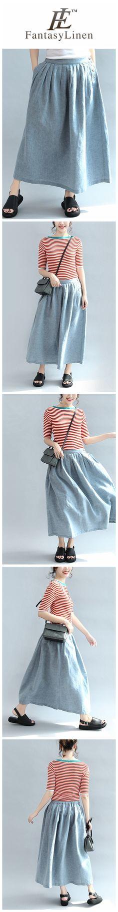 Simple Blue Casual Cotton Linen Skirt Women Clothes