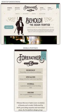 Responsive web design example: Forefathers