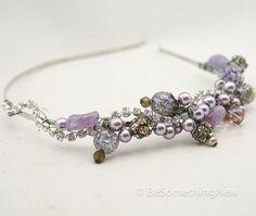 lavender beaded tiara of vintage beads and by BeSomethingNew, $65.00