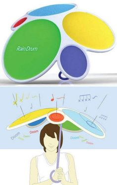 Rain Drum - Rain drum is an innovative umbrella that features various kinds of sound, making the most interesting amusement for user during rainy days. The Rain Drum umbrella is an idea of the designer Dong Min Park. Gadgets And Gizmos, Geek Gadgets, Ideas Para Inventos, Pc Photo, Zoom Photo, Picture Photo, Take My Money, Cool Inventions, Just In Case