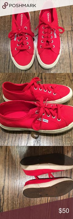 Red Supergas Great with all pieces. Pop of color. Barley worn! Worn 2-3 times. Purchased from the superga website. Shoes Sneakers