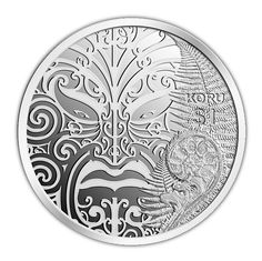 Highlights The design of the coin features the koru which is represented in the unfurling silver fern frond and the surrounding artwork represents the domain of Tāne Mahuta and is depicted through a series of koru patterns. Silver Fern, Gold And Silver Coins, Fern Frond, Nz Art, Coin Art, Gold Money, Maori Art, Kiwiana, Commemorative Coins