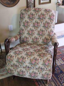 Antique Vintage Platform Rocker Rocking Chair w GOOSE Neck Arms Footstool