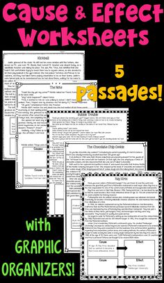 Cause and Effect worksheets- this packet includes 5 reading passages. Each contains cause and effect graphic organizers. Designed for 3rd, 4th, and 5th grade students.