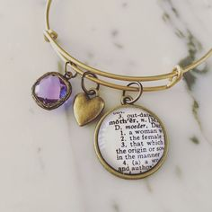 Mother Definition Charm Bracelet - Personalized Definition Jewelry - Mother's Day - Birthday - Mom - Aunt - Grandma - Stacked Bangle