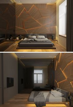 Archiplastica designed a bedroom concept that features a unique accent wall made from geometric wood panels and hidden LED lighting. - This Bedroom Has A Geometric Back Lit Wood Accent Wall Bedroom Door Design, Luxury Bedroom Design, Bedroom Decor, Interior Design, Wood Bedroom, Bedroom Designs, Accent Wall Bedroom, Wood Accent Walls, Wood Panel Walls