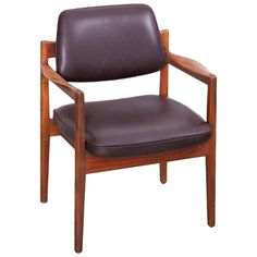 Jens Risom Armchair in Walnut and Leather by Jens Risom Inc. | From a unique collection of antique and modern armchairs at https://www.1stdibs.com/furniture/seating/armchairs/