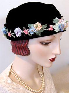Black Velvet Toque with Silk Ribbon by ThistleCottageStudio