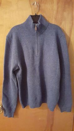 Polo Ralph Lauren 100% Lambswool Cornflower Blue Half Zip Men's Dress Sweater L #PoloRalphLauren #HalfZip #daystarfashions $29