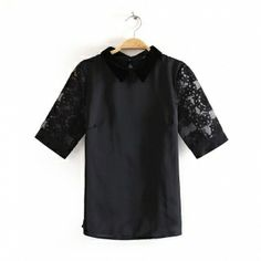 Black Organza Constrast Lapel Short Sleeve Plain Tops