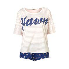 Topshop Yawn Tee and Pajama Shorts ❤ liked on Polyvore featuring pajamas, pijamas, pyjama and sleep