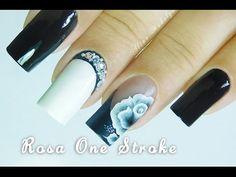 Passo a passo Rosa Preta em ONE STROKE e Aplicação de Jóia lateral | Nail art | Aline Makelyne - YouTube