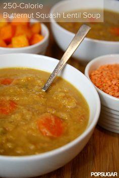 Low Calorie, Low Maintenance, High Protein: Butternut Squash Lentil Soup. This soup sounds delicious!