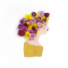 Emily Isabella paints portraits of pretty ladies and uses real flowers to craft their enviable hairdos. Illustrations, Graphic Illustration, Jr Art, Real Flowers, Flower Power, Amazing Art, Design Art, Art Photography, Creations