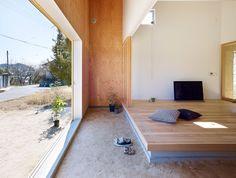 Suppose Design Office creates take on traditional Japanese doma - Architecture Japanese Architecture, Contemporary Architecture, Architecture Design, Biophilic Architecture, Light Hardwood Floors, Natural Flooring, Japanese House, Japanese Style, Minimalist Design