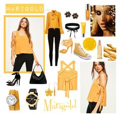 """marigold"" by whitecastlenine on Polyvore featuring MANGO, River Island, Converse, Boohoo, Michael Kors, Chantecler, Gucci, Giorgio Armani, Molton Brown and Shiffa"