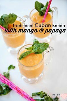 Cuban Smoothie Recipe with Mango and Papaya - Batida Cubano Weight Loss Smoothies, Healthy Smoothies, Healthy Drinks, Smoothie Recipes, Healthy Recipes, Energy Smoothies, Green Smoothies, Healthy Food, Healthy Eating