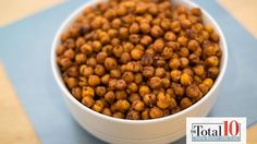 Total 10 Chili-Lime Roasted Chickpeas.  I used fresh chickpeas found in the produce section - they are prepackaged a better product than the canned version, plus they cook up better since they are not stored in liquid.  Once out of the oven and after coating them with the chili-lime mixture, they started to soften so I returned them back to my (now turned off ) oven for about 10-15 min's longer.  let them cool and they stayed crunchy :-)
