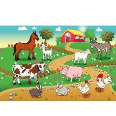 Buy Farm animals with background. Farm animals with background. Vector and cartoon illustration.
