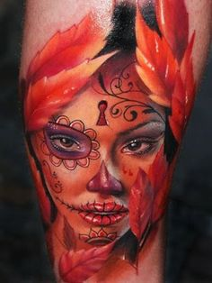 sugar skull girl #tattoo #ink #body art