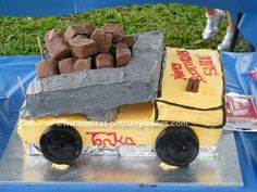 Homemade Tonka Truck Birthday Cake: I found this Tonka Truck Birthday Cake a little time consuming with getting the icing on but well worth the effort. I started with 3 large rectangle cakes Rectangle Cake, Truck Birthday Cakes, Diy Cake, Cool Kids, Effort, Icing, Homemade, Cool Stuff, Desserts