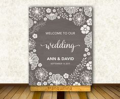 Wedding Welcome Sign Printable, Rustic Welcome Sign, Digital File - Bridal Shower Welcome Sign - pinned by pin4etsy.com