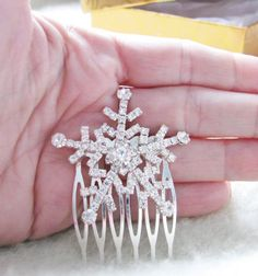 Rhinestone Bridal  Hair Comb Snowflake Winter by weddingswithflair, $20.00