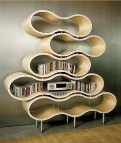 Wavy shelves by Pilot Design. Interior / Home / Decor / Design / Furniture / Accessories / Contemporary / Transitional / Modern Funky Furniture, Design Furniture, Plywood Furniture, Unique Furniture, Furniture Ideas, Victorian Furniture, Furniture Showroom, Furniture Makeover, Painted Furniture