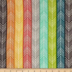 (Mom's Milk Exclusive 'KATNISS').   Fabric name: 'Birch Organic Serengetti Quill Stripe Multi'   Designed by Jay-Cyn for Birch Organic Fabric, this is a GOTS certified organic cotton print fabric.  Colors include eggplant, teak blue, green, gold, orange, grey, aqua and coral red.