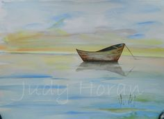 ABANDONED? - a watercolour painting of a boat abandoned completely or just while the owner takes a swim or is fishing nearby