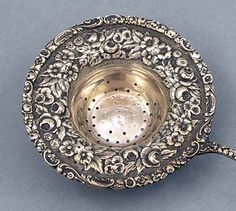silver repousse | T4738 Stieff Sterling Repousse Tea Strainer