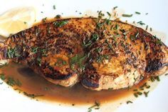 Seared Swordfish with a Lemon and Wine Rosemary Sauce – Simple Comfort Food – Recipes that are simple and delicious. Fish Dishes, Seafood Dishes, Fish And Seafood, Seafood Recipes, Dinner Recipes, Dinner Ideas, Main Dishes, Seafood Meals, Shellfish Recipes