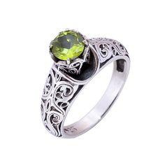 Natural Peridot Ring Gemstone Ring 925 Sterling Silver Wedding Engagement Gift #Handmade #Filigiri #Wedding