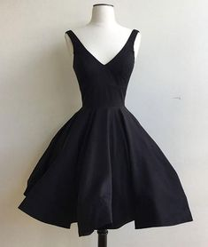 Simple v neck black short prom dress, cute homecoming dress, Customized service and Rush order are available