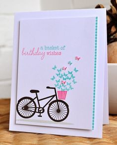 pedal pusher could work actual: Clearly Besotted Inky Fingers: Clearly Besotte - Womens Bicycle - Ideas of Womens Bicycle - pedal pusher could work actual: Clearly Besotted Inky Fingers: Clearly Besotted birthday card Handmade Birthday Cards, Greeting Cards Handmade, Cute Cards, Diy Cards, Bicycle Cards, Do It Yourself Inspiration, Stamping Up Cards, Paper Cards, Creative Cards