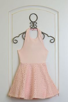 Beginning with a U halter neckline, this light pink dress from Elisa B is available in tween sizes. The bodice is a solid light pink and features a unique cut out on the back. Girls Special Occasion Dresses, Pink Dress, Rompers, Spring, Fashion, Pink Sundress, Moda, Fashion Styles, Blanket Sleeper