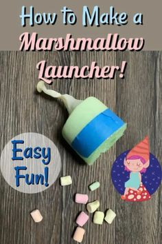 Learn how to make a marshmallow launcher with a pool noodle, balloon and a little bit of tape. Have fun launching marshmallows or pom poms around the house. Rainy Day Crafts, Fun Crafts For Kids, Games For Kids, Diy And Crafts, Art And Craft, Love Craft, Marshmallow Catapult, Origami, Peel And Stick Wood