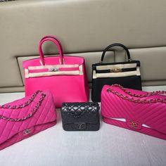 CHANEL Chevron Fuchsia Pink Flap Bag | https://instagram.com/p/3ETErktsDd/