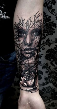 woman face abstract lines trash realistic - designed by by Krzysztof artist at tattoo anansi munich