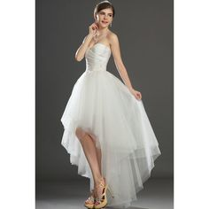 Modern Ivory Strapless Sweetheart Tulle High-Low Wedding Dresses with Ruched