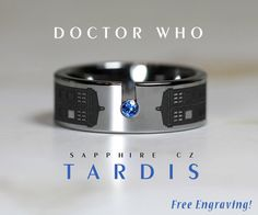 Beautiful and classy Doctor Who ring made of tungsten carbide